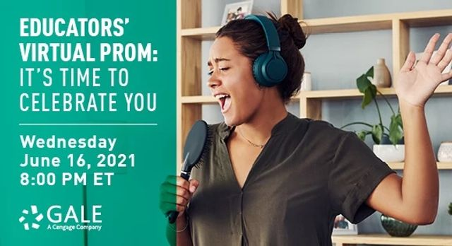 An African-American woman sings happily into a microphone with headphones on in a living room promoting this event: Educators' Virtual Prom: It's Time to Celebrate You