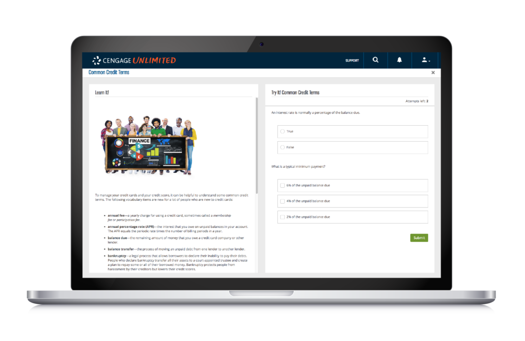 A Cengage Unlimited web page shows a team of people standing behind a chalkboard with Finance information written on it. Free Financial Literacy Resources Available to Cengage Unlimited Subscribers.