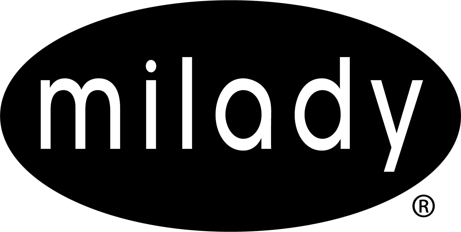 Milady logo with black background representing a Cengage higher education brand