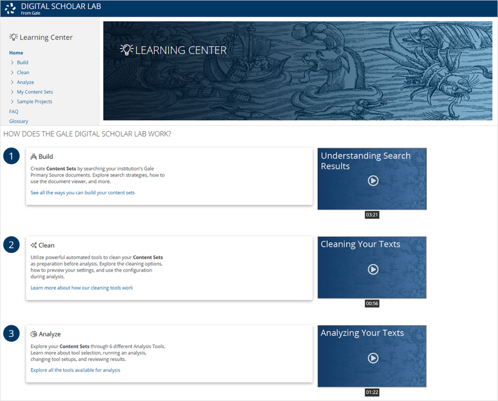 Screenshot of the Gale Digital Scholar Lab on their website, showing video icons for Understanding Search Results, Cleaning Your Texts, and Analyzing Your Texts.