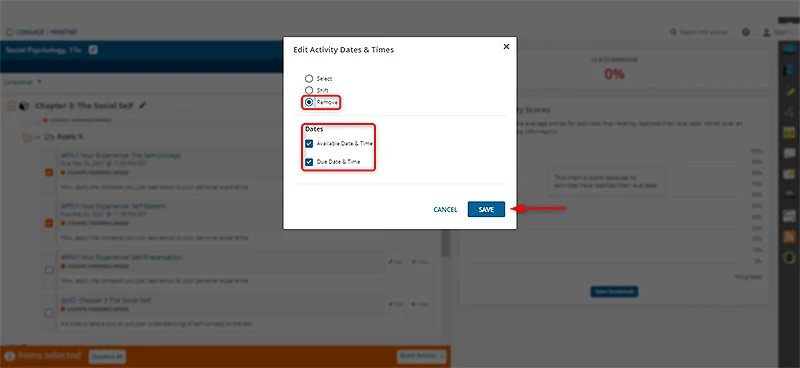 Removes existing dates