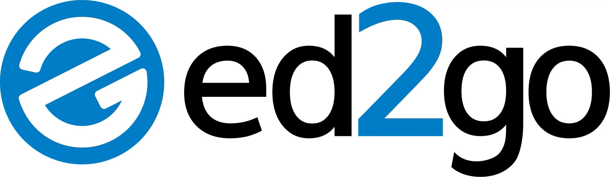 ed2go logo with black and blue and a circle around the E, representing Cengage's workforce skills brand