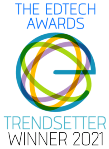 The EdTech awards logo. A blue lowercase e with multi-colored circles in the background. Cengage Group named a Trendsetter of the Year for helping students save money on course materials with its Cengage Unlimited subscription.