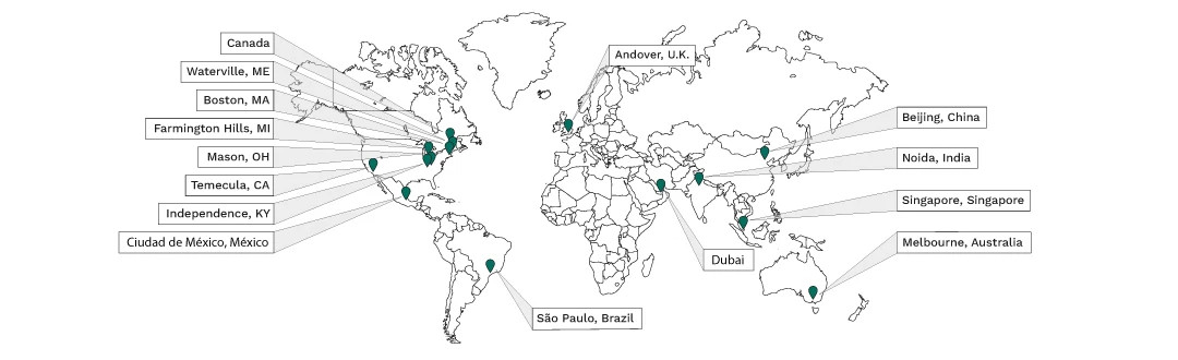 Map showing all of Cengage's hubs and world-wide locations