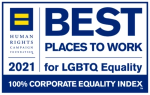 """Blue and white Human Rights Campaign logo promoting Cengage earning the designation of """"Best Place to Work for LGBTQ Equality"""" in Human Rights Campaign's 2021 Corporate Equality Index."""
