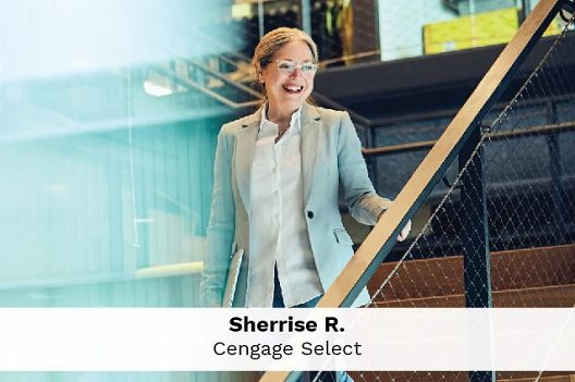 Employee Sherrise R., English Language Teaching, walks down the stairs in Cengage's office.