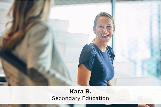 Employee Kara B., Secondary Education, smiles in the Cengage office where she works on education for employment initiatives.