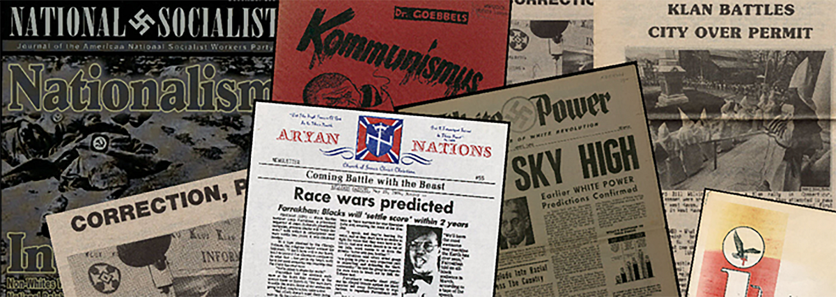 Seven dated newspaper front pages promoting Aryan Nation propaganda. Gale unveils a new archive on far-right groups in America as a new research and archive option.