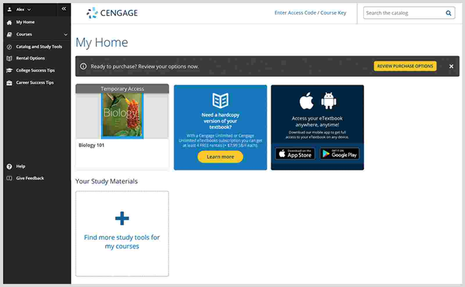 Cengage Unlimited Dashboard