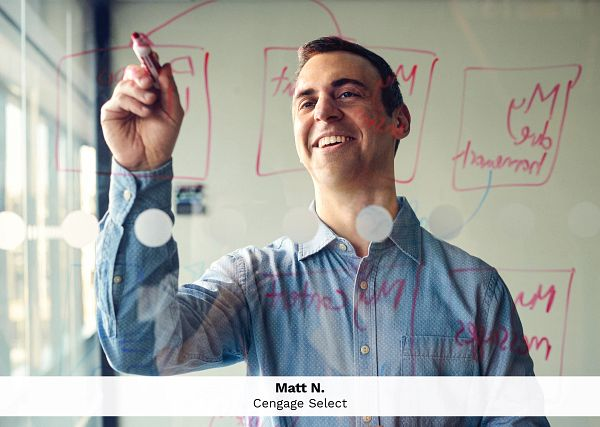 Employee Matt N., English Language Teaching, explores innovative approaches to education technology while writing on a whiteboard.