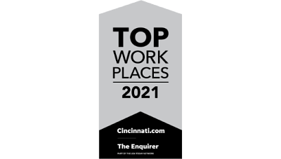 A white banner with black letters reads: TOP WORK PLACES 2021 as Cengage was named a winner by Enquirer Media.