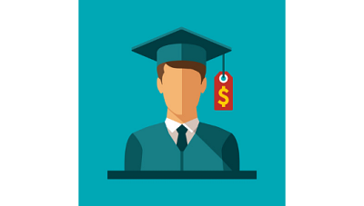 cartoon image of a graduate with a price tag hanging from his graduation cap