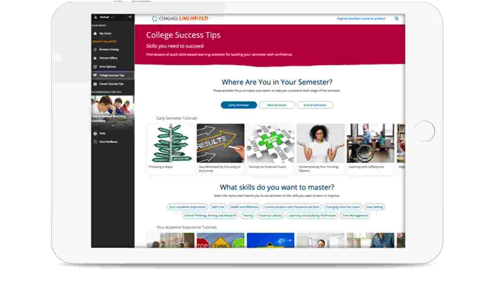 Tablet showing college success tips screen