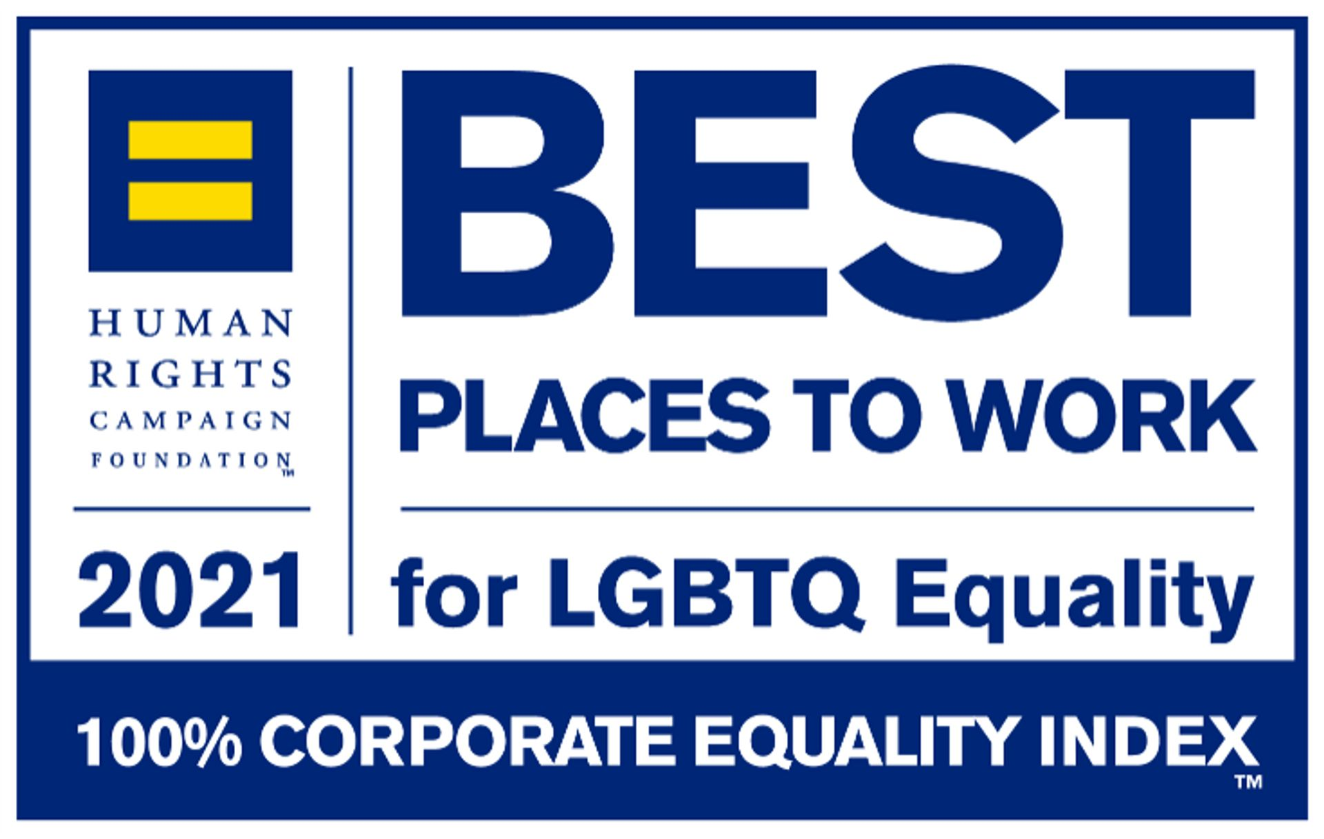 Human Rights Campaign Foundation 2021 Best Places to Work for LGBTQ Equality logo