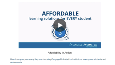 Hear from colleges and universities why they are choose Cengage Unlimited for Institutions to empower students and reduce costss.