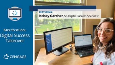 Kelsey Gardner sitting at her home office desk.