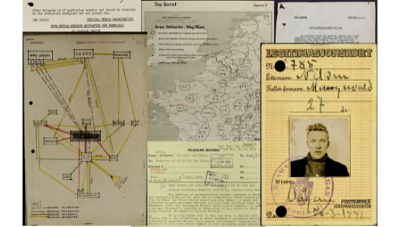Copy of top secret British intelligence information containing maps and a soldier's headshot. This represents Gale's new digital archive series on British Intelligence.