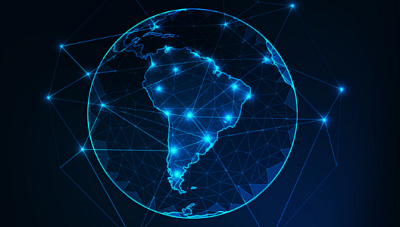Image of the planet with Latin America highlighted in bright blue lights.